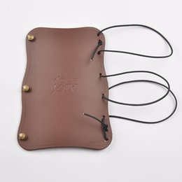 Wholesale Archery Guard - Archery Accessory Brown Arm Restraint Leather Arm Guard Hook and Loop Barcer for Shooting and Hunting K