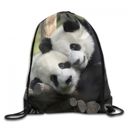 Wholesale Leopard Tie For Men - Training Gymsack Backpacks Panda Print Fashion Durable Polyester Drawstring Sports Fan Sackpacks For Trips