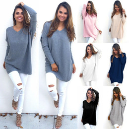 Wholesale Womens Silk Shorts - Fashion Autumn Winter Dress Womens V-Neck Loose Knitted Oversized Baggy Sweater Jumper Tops Dress Outwear Plus Size S-XL Vestidos
