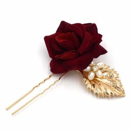 Wholesale Red Bridal Jewellery - new gold red flower leaf hairpins wedding accessories bridal jewellery party crystal pearl hair pins clips 3pcs lot a371