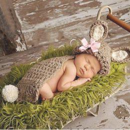 Wholesale Rabbit Hat Costume - Newborns Knitting Costume Suit Baby Beige Classic Cute Rabbit Shape Hat Cloak Photography Props Hand Made Hot Sale 14xzd I1