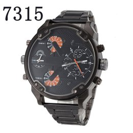 Wholesale Display Relojes - New Sport Mens Watches Luxury watch 7315 Big Dial Display Top Brand Quartz Watch Black Steel Band Fashion Wristwatches For Men Relojes