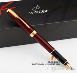Wholesale Parker Ink Pen Black - Free Shipping Parker Sonnet Red Gold Roller Pen Medium Nib 0.5mm Signature Ballpoint Pen Gift Writing Pen School Office Suppliers Stationery