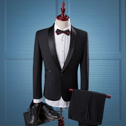 Wholesale Shiny Suits Sale - Black Shiny Collar 2-Piece Coat Pant Men Suit Business Formal Men's Dress Clothing On Sale L-988