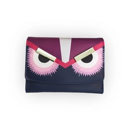 Wholesale Note Cartoon Covers - Wholesale free shipping Little monster accordion wallet in genuine stingray leather Most popular cute monster purse