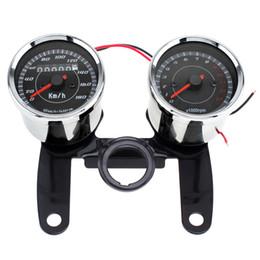 Wholesale motorcycle odometer speedometer tachometer - 12V Motorcycle Speedometer Odometer Gauge 0 - 180km   h 13000 RPM Colorful LED Backlight Tachometer Set MOT_106