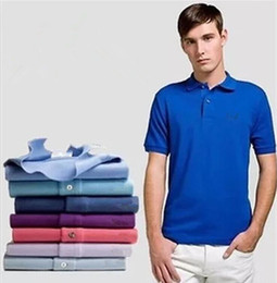 Wholesale Mens Clothing Logos - Big Size S-6XL Embroidery LOGO Men Polo Solid Stand Collar Short Sleeves Polos Lion Cotton Pique Tops Summer Mens Clothing Brand Camiseta
