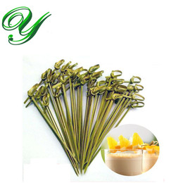 Wholesale Bamboo Cocktail - 100pc Bamboo Knotted Skewers cocktail muddler drink stirrers food fruit toothpicks fork appetizer decoration party supplies bbq brochette