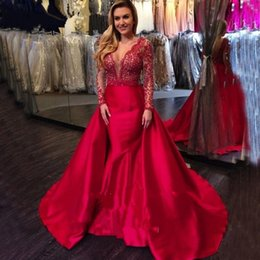 Wholesale Detachable Red - Exquisite Red Beads Celebrity Evening Dresses With Detachable Train Sheath Mermaid Weddings Guest Dress Backless V Neck Lace Long Sleeves