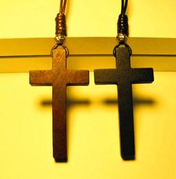 Cristianismo Jesús cruz de madera collar colgante de cuentas de plata tibetanas largos suéter cadena amantes hechos a mano con estilo 2017 nuevo 12 unids desde fabricantes