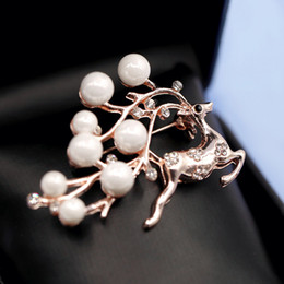 Wholesale Korean Hair Brooches - Woman headdress hair Colorful plaid (jewelry) classic Korean imitation pearl brooch brooch pin H0087 all-match deer