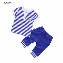 Wholesale Summer Outfit For Kids Boys - Summer Baby Boy Striped Set Clothes Fashion Outfits For Kid Infant Navy T Shirt Top+Shorts Pant 2PCS Tracksuit Children Suit 0-4 Year
