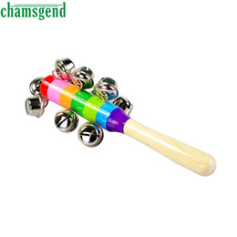 Wholesale Baby Best Sellers - Wholesale- CHAMSGEND Best seller drop SHIP Colorful wooden bell Orff instruments Baby Rattles percussion string of bells S45