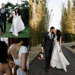 Wholesale Bridal Dress Cover Ups - Two Pieces Country Style Satin Wedding Dresses A Line Jewel Neck Covered Button Backless Wedding Bridal Gowns High Quality 2017