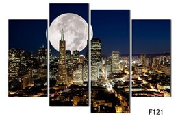 Wholesale Large Nude Canvas Art - Fashion HD Large Canvas painting 4 Panels Home Decor Wall Art Picture Prints of NewYork city night view Artwork
