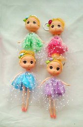 Wholesale Barbies Dolls Dresses - 18CM JBD Printing Dot Cloth Dress Duggn Dolls Pendant Barbie Doll For Baby Girl Cartoon Diy