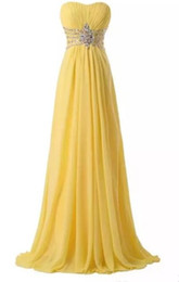 Giallo semplice moda da sera Prom Abiti senza maniche Vita in rilievo A-Line Laurea Homecoming Abiti foto reali Hot cheap yellow graduation dress gown da abito da damigella d'onore giallo fornitori