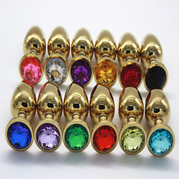 Wholesale Gold Plated Butt Plugs - Free shipping Metal Gold Plated with colorful Jeweled Crystal Anal Butt Plug Sex toys Anus Stimulation Adult products S M L sizes RY-004-6