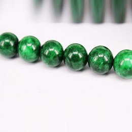 Wholesale Green New Jade Beads - New 20pcs Lot Round Green Jade Brads Loose Bead Fashion Jewelery DIY Necklace Bracelet Decoration Gifts Sweater necklace