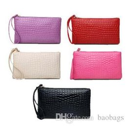 Wholesale Wholesale Ladies Leather Hand Bags - Pinkycolor Women Lady PU Leather alligator Clutch bag hand bags Patent leather coin Purse phone bags