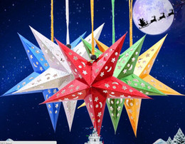 Wholesale Christmas Decoration Paper Stars - Size 30cmThree-dimensional laser 6 colors star ceiling ornaments Christmas paper five-pointed star Christmas decorations for home hotel mall