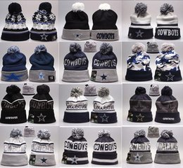 Wholesale Embroidered Top Women - New Fashion Unisex Dallas Cowboys Winter Hats for Men women Knitted Beanie Wool Hat Man Knit Bonnet Basketball Beanie Gorro Thicken Warm Cap