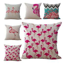 Wholesale Birds Homes - Bird Flamingo Pillow Case Cushion cover Linen Cotton Throw Pillowcases sofa Bed Pillow covers Drop Shiping