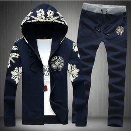 Wholesale Men Winter Jack - Wholesale-Men Sportswear Hoodie And Sweatshirts Autumn Winter Jogger Sporting Suit Mens Sweat Suits Brand Mens Tracksuits Set Pants + Jack