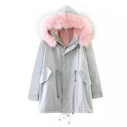 2019 color de pelo largo coreano La versión coreana de la chaqueta femenina más cachemira cálida gruesa chaqueta de algodón con capucha cuello de pelo con capucha largo suelta ropa casual-C37 color de pelo largo coreano baratos