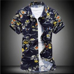 Wholesale Double Button Shirts - Brand 2017 Fashion Male Hawaiian Shirt Short-Sleeves Tops Double Collar Button Design Mens Dress Shirts Slim Men Shirt