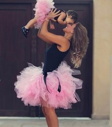 Wholesale Spring Maternity Outfits - Mother and Daughter Tulle Skirts Pink Tutu Cute Ruffles Puffy Parent-child Skirt Sweet Family Dresses Alikes Matching Outfits Summer 2017