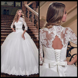 Wholesale Plus Size Ivory Dresses - Wedding Dresses Bridal Gowns With Lace Up Bridal Gowns Arabic A Line Ivory Lace Vintage Wedding Dress Plus Size Wedding Dress