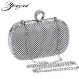 Bolsas de mão em ouro on-line-Mulheres do vintage Strass Sacos de Noite de Prata / Ouro / Preto Diamantes Anel de Diamantes Cadeia Ombro Embreagem Bolsa Pequena Sacos de Noite