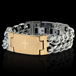 "Wholesale Mens Wide Stainless Steel Bracelets - Heavy Boys Mens Chain Cut Rombo Double Curb Link 18k Gold  Sliver 316L Stainless Steel Bracelet 22.5mm Wide 8.46"" Long"