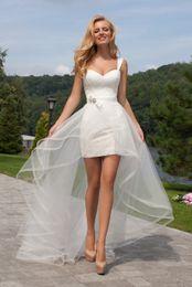 Wholesale Custom Drills - 2017 New Sheath Column Sweetheart Detachable tulle Lace Wedding Dress With bow Decorative drill Beach wedding dresses LL#10001