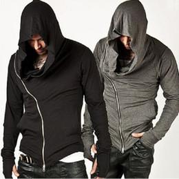 Wholesale Men Stylish Hoodies - New Stylish Unbeatable Arm Warmer Diagonal ZIP-UP Mens Assassin Creed Hoodie Fashion Design For Men Sportswear Sweatshirt hight quality fre