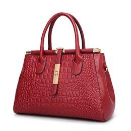 Wholesale Ladies Black Leather Hand Bags - Women Crocodile Leather bag Fashion Real Genuine leather Handbags Woman Vintage Hand bag Brands Ladies Black Shoulder bag