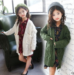 Wholesale Kids Floral Cardigan - Big girls knitting cardigan coat autumn kids double pocket princess long outwear girl floral printed lace-up BOWS falbala dress R0311