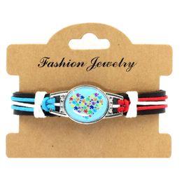 Wholesale Ladies Leather Bracelets Charms - Faith Hope Love Autism Awareness Ribbon Puzzle Paracord Survival Friendship Womens Girls Ladies Bracelets