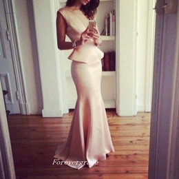 light ivory colour Coupons - Pink Colour Long With Peplum Evening Dress Mermaid Satin Sleeveless Wear Special Occasion Dress Party Gown Custom Made Plus Size