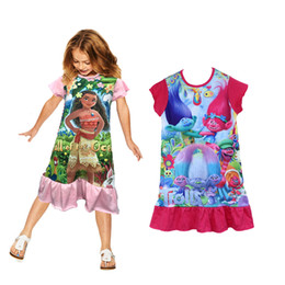 Wholesale Kids Dress Wholesale Price - Kids Girls Cheap price High quality 100% cotton fabric Cartoon Moana princess trolls dress ruffle sleepwear girls nightgown