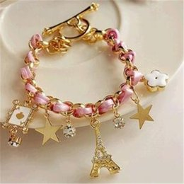 Wholesale Popular Poker - Sweet Popular Leather Bracelets 5 Charms with Stars Peach Heart Poker Eiffel Tower Flower Charm Crystal Bracelet