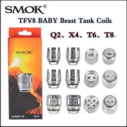 Wholesale Smok Coils - Hot Smok TFV8 BABY Beast Tank Coils V8 Baby-T8 0.15ohm T6 0.2ohm X4 0.15ohm Q2 0.4ohm coil head via DHL