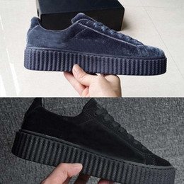 Wholesale Close Children - New Color Rihanna Fenty Creeper Velvet Pack Black Grey Burgundy Color Brand Athletic children Casual Shoes eur 36-44