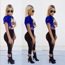 Wholesale Wholesale Animal Print Products - 2017 New Product Women Crop Tops Shirt European Sexy Ma'am Round Neck Sleeve Guns And Rose Band Printing Short Fund T-shirt