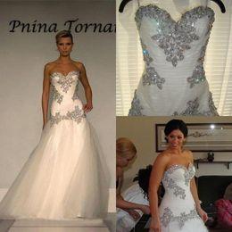 Pnina tornai gold online-Luxus 2017 Tüll Schatz Meerjungfrau Brautkleider Pnina Tornai Günstige Perlen Kristall Lange Brautkleider Nach Maß China