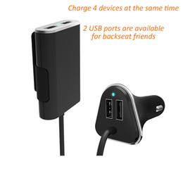 Wholesale Charger Extension - Wholesale- Universal 4 Port USB Car Charger Front and Back Seat Iphone Chargers Adapter 48W 9.6A with 6 Feet Extension Cable