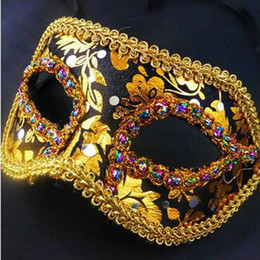 Wholesale Cloth Face Masks Wholesale - new arrival Half Face Halloween Masquerade mask male Venice Italy flathead lace bright cloth masks Halloween Mask Party Mask H41
