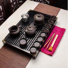Wholesale Cup Pot Chinese Tea Set - Chinese Kung Fu Tea Set Drinkware Purple Clay ceramic Binglie three options include Tea pot Cup Tureen Infuser TeaTray