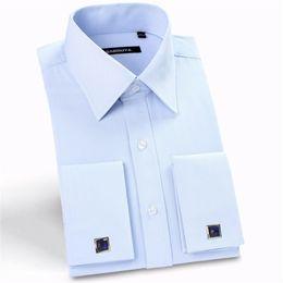 botões formais do punho das camisas Desconto Atacado - 2017 homens botão de punho de França camisas sólidas turn down gola manga longa homens banquete fit camisa formal (abotoaduras incluídas)